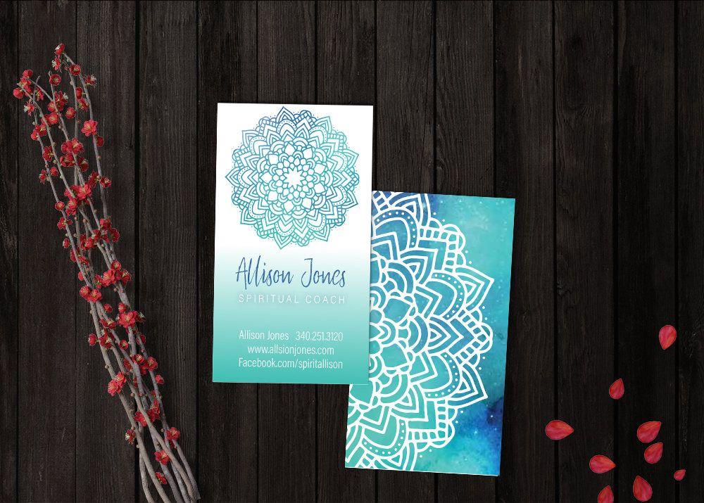Spiritual Business Card Mandala Blue Healer Chakra Yoga Meditation Sacred Geometry Symbols N Spiritual Business Card Spiritual Business Business Cards