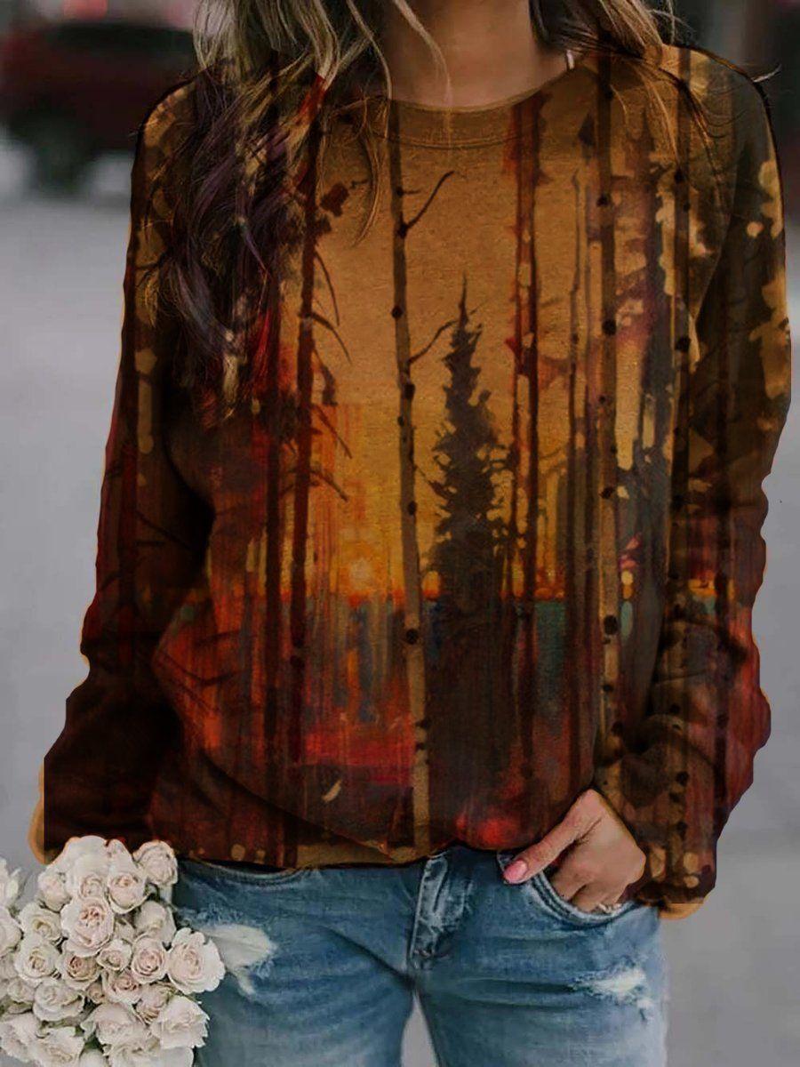 Tree printed crew neck casual sweatshirt