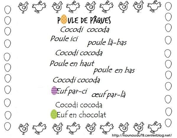 Comptine Poule De Pâques Poésie De Pâques Maternelle