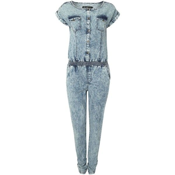 Blend She Vera denim jumpsuit ($46) ❤ liked on Polyvore featuring jumpsuits, blue, clearance, jump suit, blue jumpsuit, jumpsuits & rompers, denim jumpsuit and blue jump suit