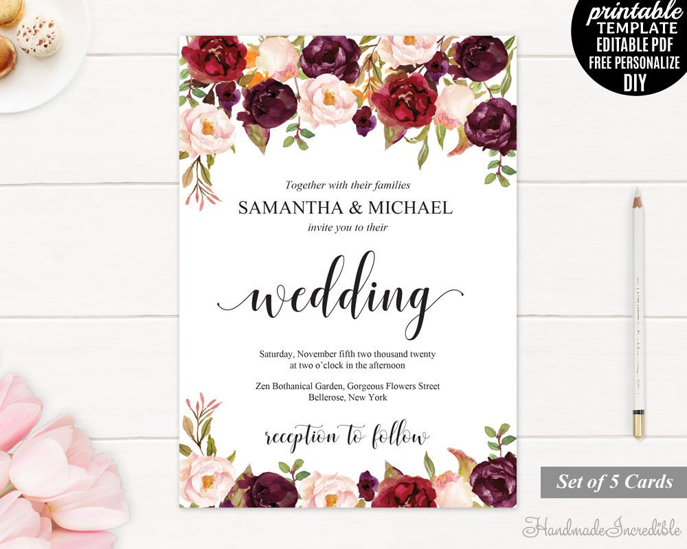 Burgundy Wedding Invitation Set, Printable Floral Marsala ...