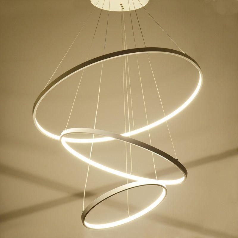 Eu Lager Versandkostenfreie Moderne Pendelleuchte Led Ring Design Aus Acryl 80cm 60cm 40cm