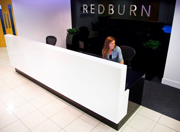 Eye-catching reception desk designed using White Formica Laminate http://buzz.mw/b1aiv_n  #officedesign #furnituredesign