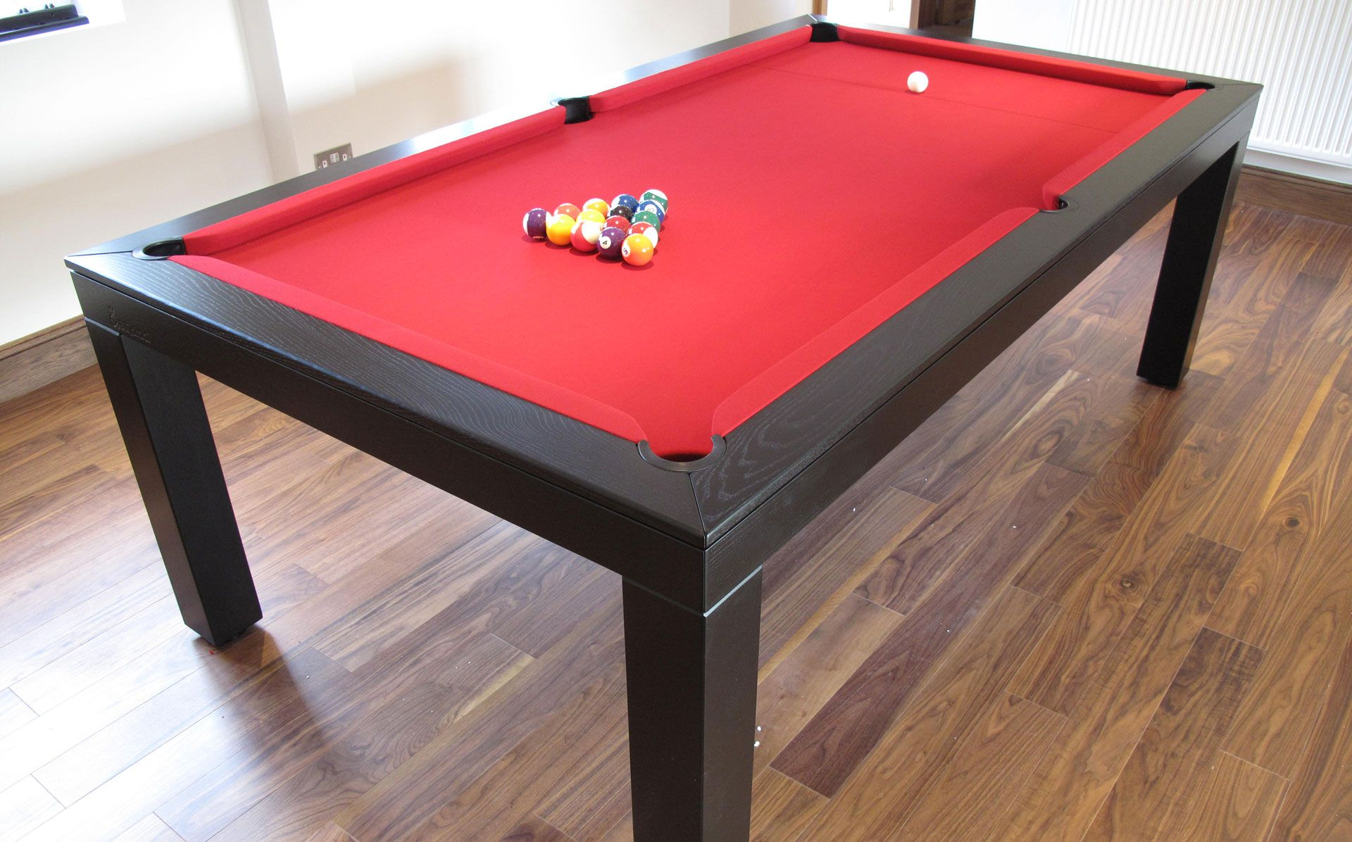 7 39 english contemporary pool table in oak colour e4 black with a windsor red hainsworth smart