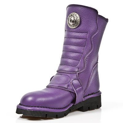 New Rock Comfort-Light Leather Boots - Purple - 1471-S7 - Gothic,Goth,Punk,NewRo