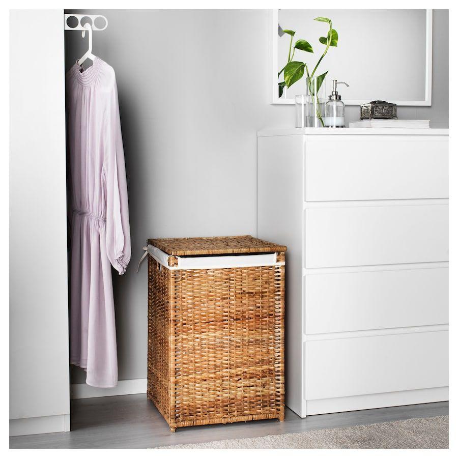 Branas Laundry Basket With Lining Rattan Ikea Waschekorb Ikea Rattan