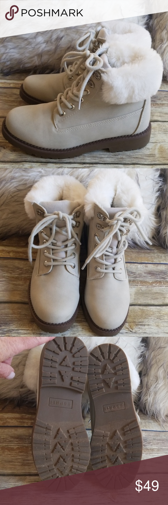 ESPRIT ANKLE BOOTS Esprit cozy cream lace up ankle booties. White faux fur trim … – My Posh Picks