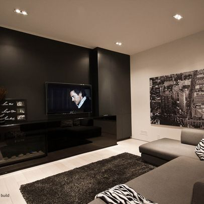 Media Room Love The Color Scheme Of Course Need A Bigger Tv For You Black And White Living Room White Living Room Decor Dark Grey Living Room