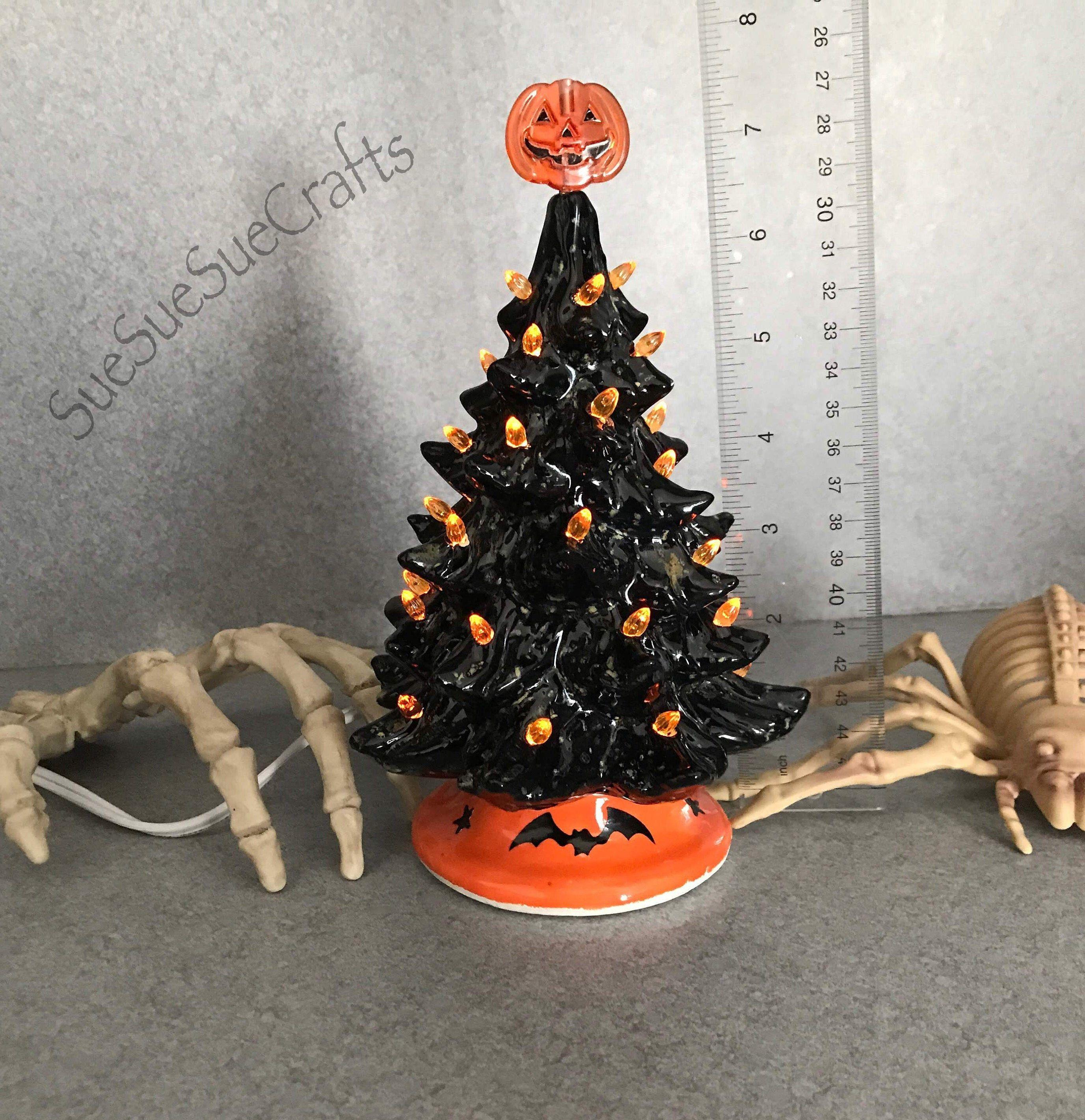 Halloween Tree, Ceramic night light, Small 7 inch, 7 Boo