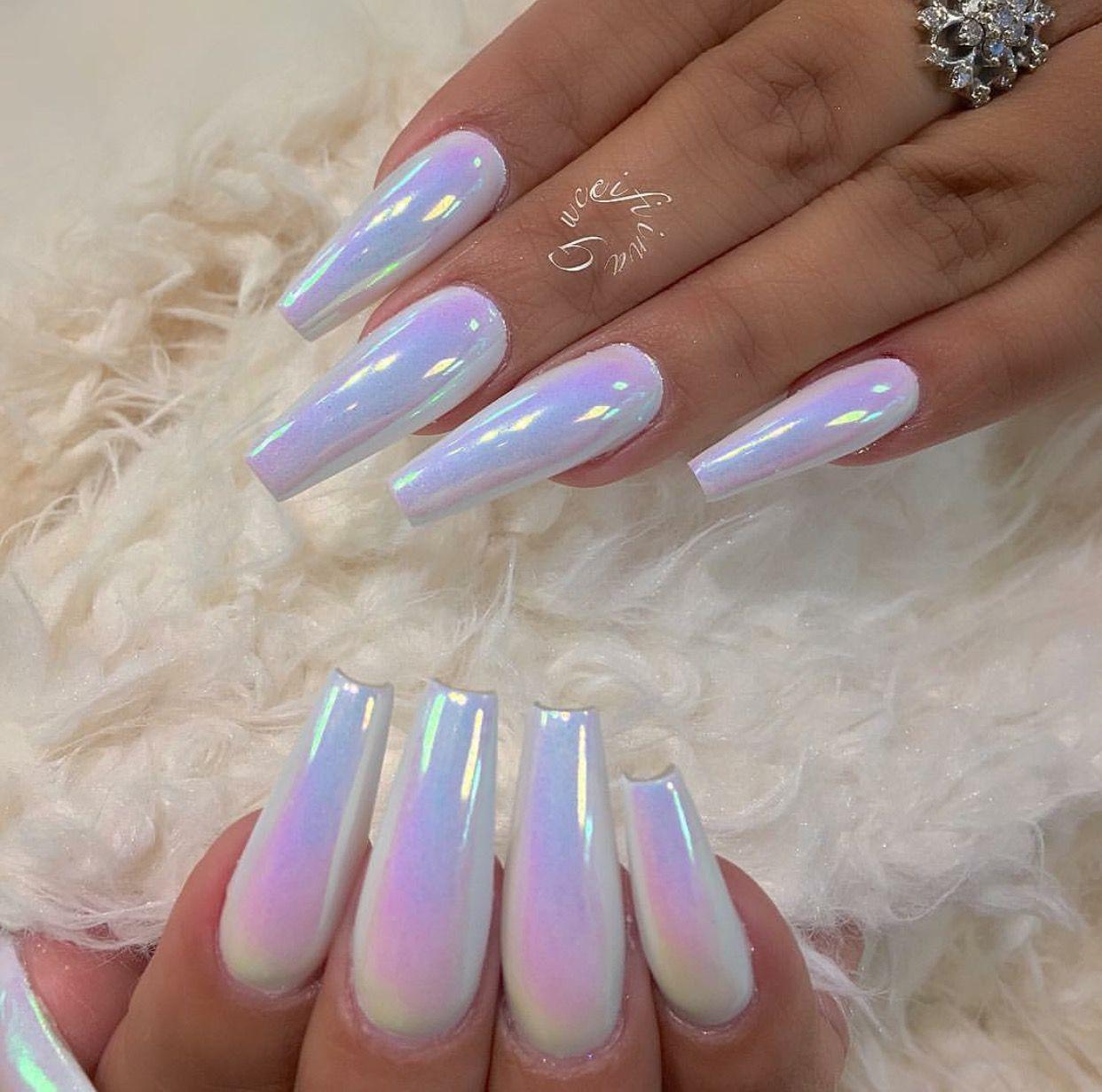 unicorn chrome acrylic nails