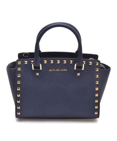 Look what I found on #zulily! Navy Studded Selma Leather Satchel #zulilyfinds