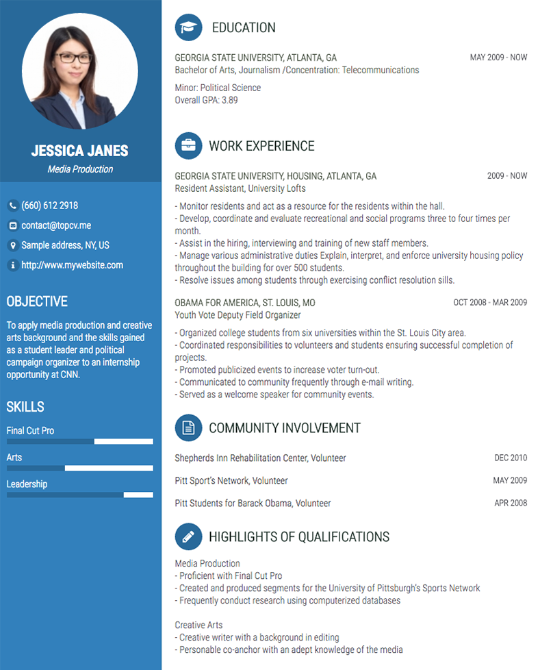Onepage Impressive CV Template (With Images)