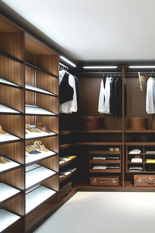 Interior Design Walk In Wardrobe Closet Custom Built Walnut Wooden Shoe Rack Shelves Hanging Area