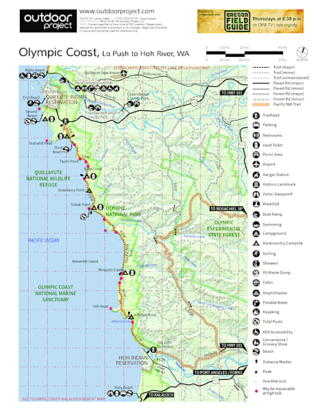 Olympic South Coast Wilderness Trail La Push to Hoh River Trail Map