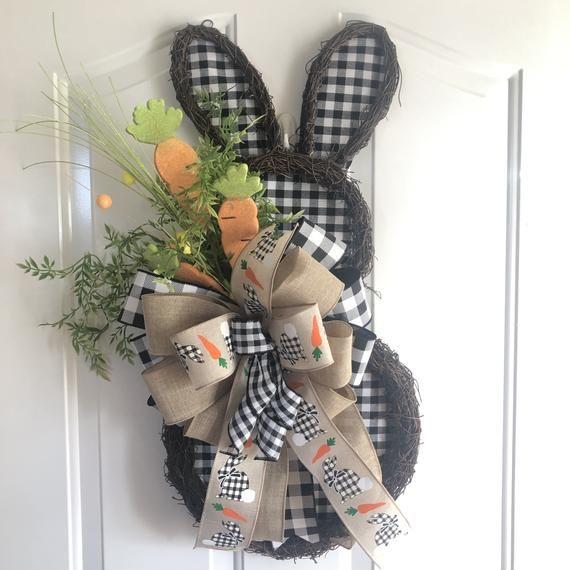 Photo of Front door wreath. Easter wreath. Bunny door decor. Farmhouse decor. Best seller. Bunny wreath. Buff