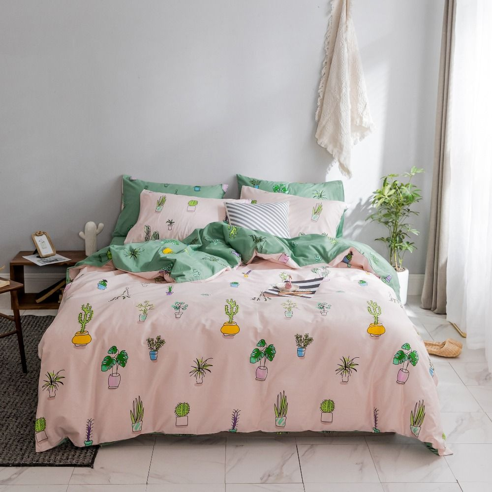 Plant Bedding King Size Bed Sheet Sets Queen Bedding Potted Plant Printed Duvet Cover Set Cotton Bedding S Queen Bed Sheets King Size Bed Sheets Bed Sheet Sets