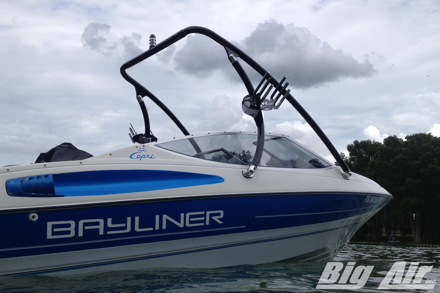 Bayliner Capri boat with Big Air Ice wakeboard tower in