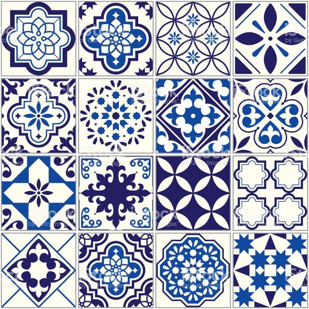 vector tile pattern lisbon floral mosaic mediterranean seamless navy blue ornament royalty free vector tile pattern lisbon floral m mozaik desenler ajandalar pinterest