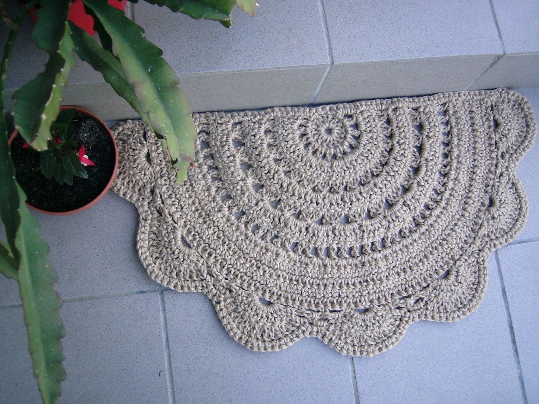 Doormat Half Circle Crochet Jute Door Rug Kitchen By Stefkowo