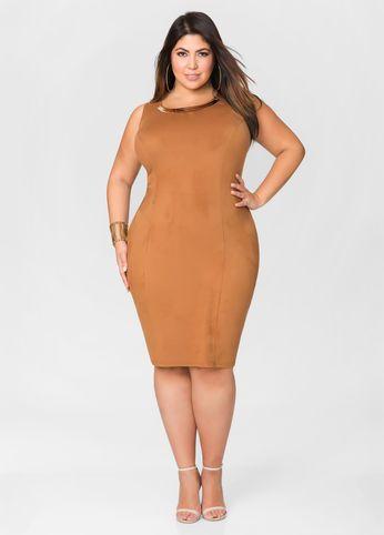 9ae3959318 Micro Suede Gold Bar Sheath Dress