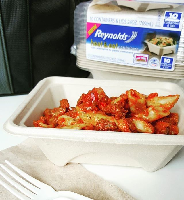 My rotini skillet dinner is even better for lunch the next day with a little cheese melted on top. I picked up Reynolds™ Disposable Heat & Eat containers at Target to make it easy for hubby to take the leftovers to work for lunch the next day and NOT have to carry home a dirty container. Heat & Eat containers are a great alternative to plastic and made with plant fibers, making it perfect for the microwave. #ReynoldsHeatandEat #ad @ReynoldsWrap