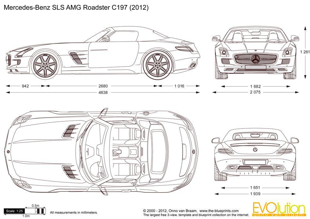 Mercedes benz sls amg roadster c197 modern cars for Medidas de un carro arquitectura