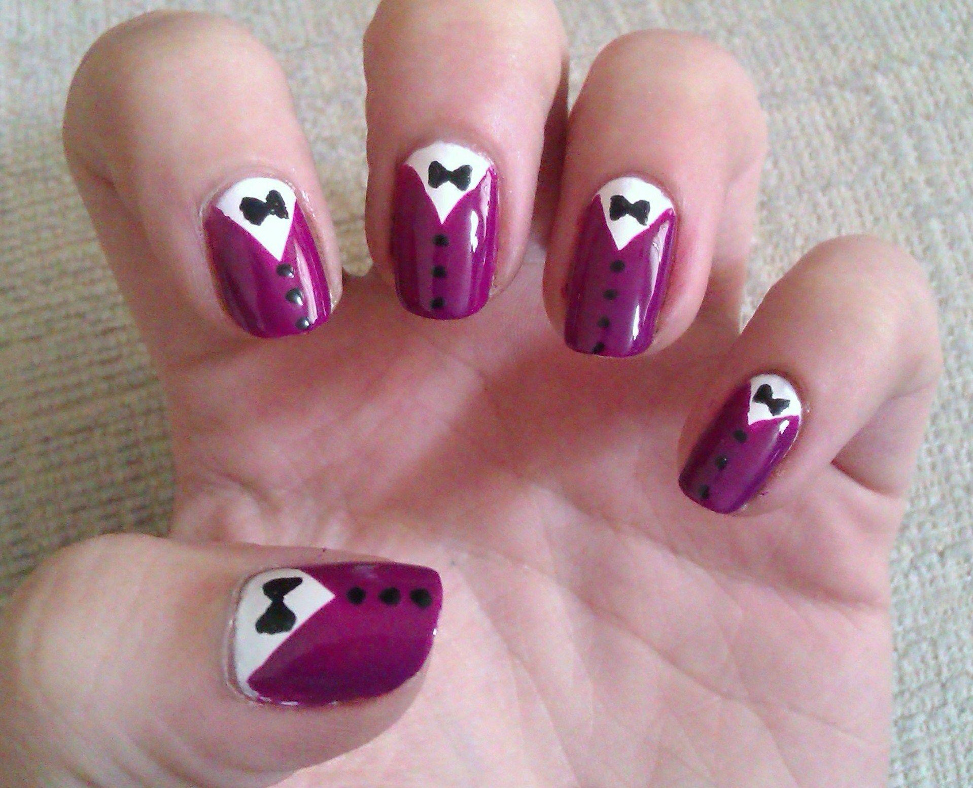purple tuxedo | purple nail, tuxedo nails and purple ombre nails
