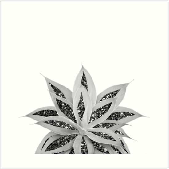 Gray Agave With Black Silver Glitter 1 Shiny Tropical Decor Art Art Prints By Anitabellajantz Redbubble Art Art Prints Rose Gold Glitter