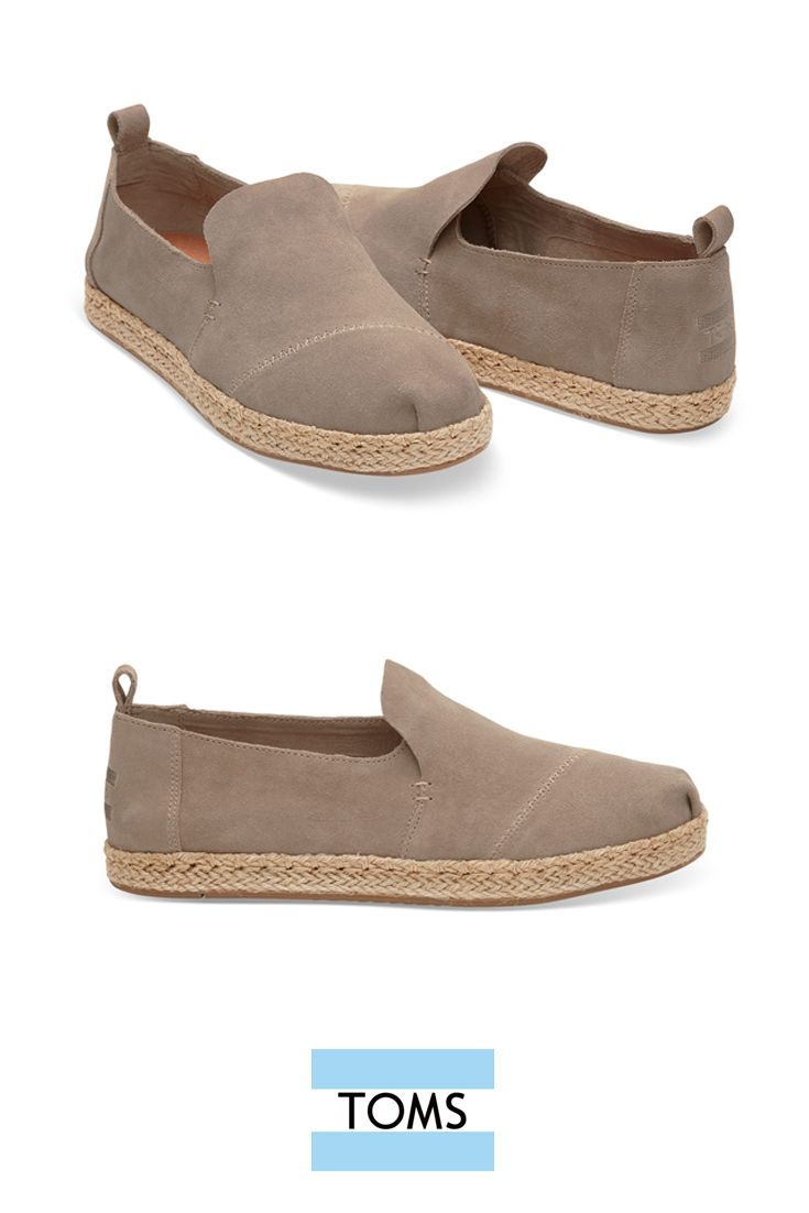 Desert Taupe Suede Women s Deconstructed Alpargata from TOMS with a rope  sole that adds a relaxed detail to the contemporary style. 46ff34a03a0