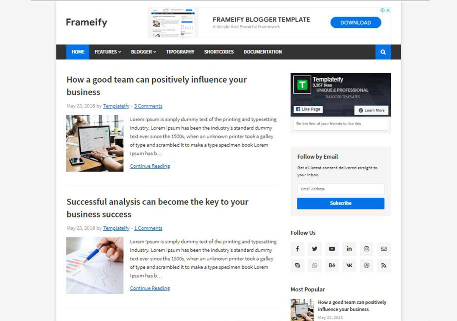Frameify Blogger Template Free Responsive Theme Blogger Templates Free Blogger Templates Blogspot Template