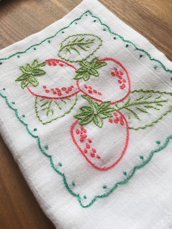 Strawberries and Cherries Hand-embroidered Dish Towels #dishtowels
