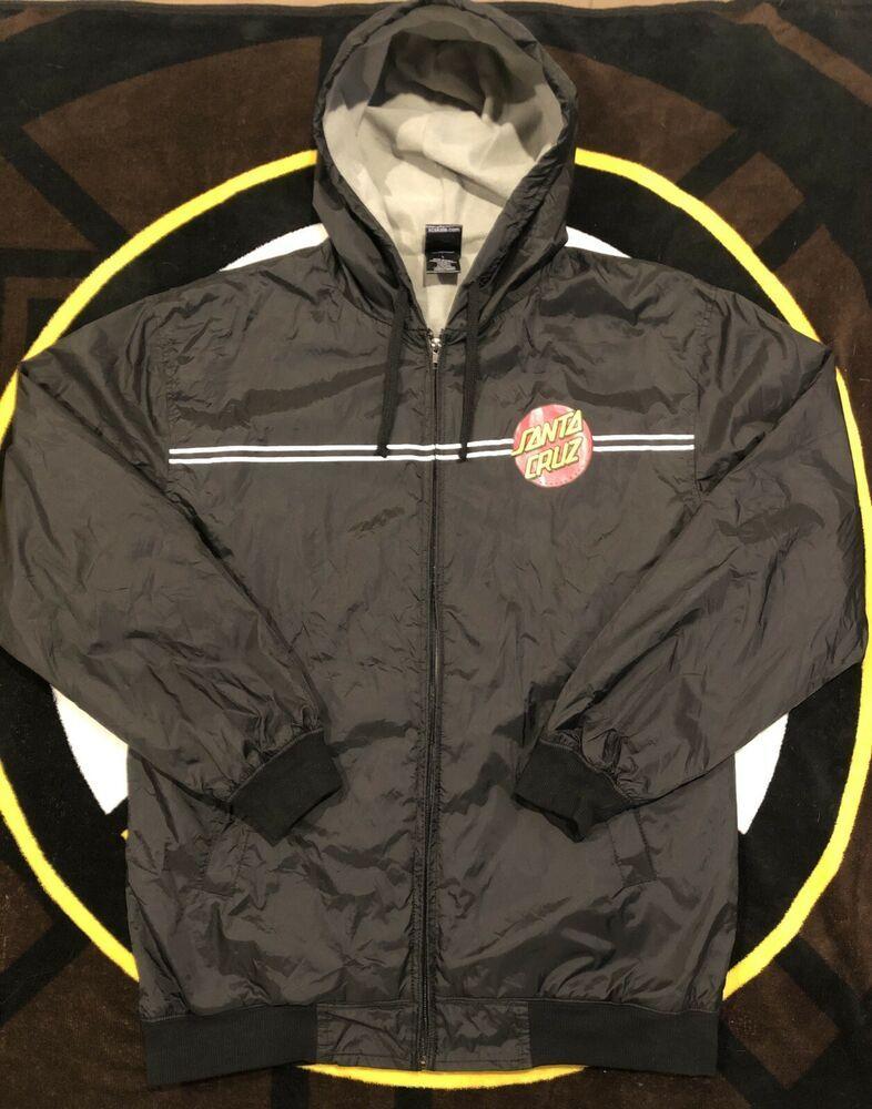 de4009a7cb Advertisement(eBay) Santa Cruz Dot Hooded Windbreaker Jacket Black Size  Large