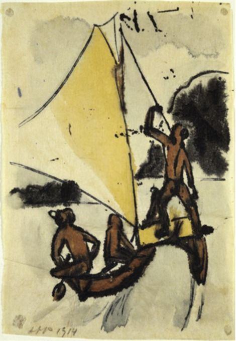 Max Pechstein, (1881-1955), 1914, Auslegerboot (Outrigger Boat), Watercolor. on ArtStack #max-pechstein #art