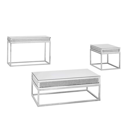 Home 3 Piece Coffee Table Set Mirrored Coffee Tables Table