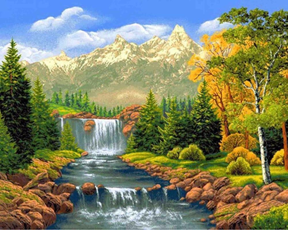 Landscape Waterfall Diamond Painting Kit Diy Waterfall Paintings Landscape Paintings Waterfall