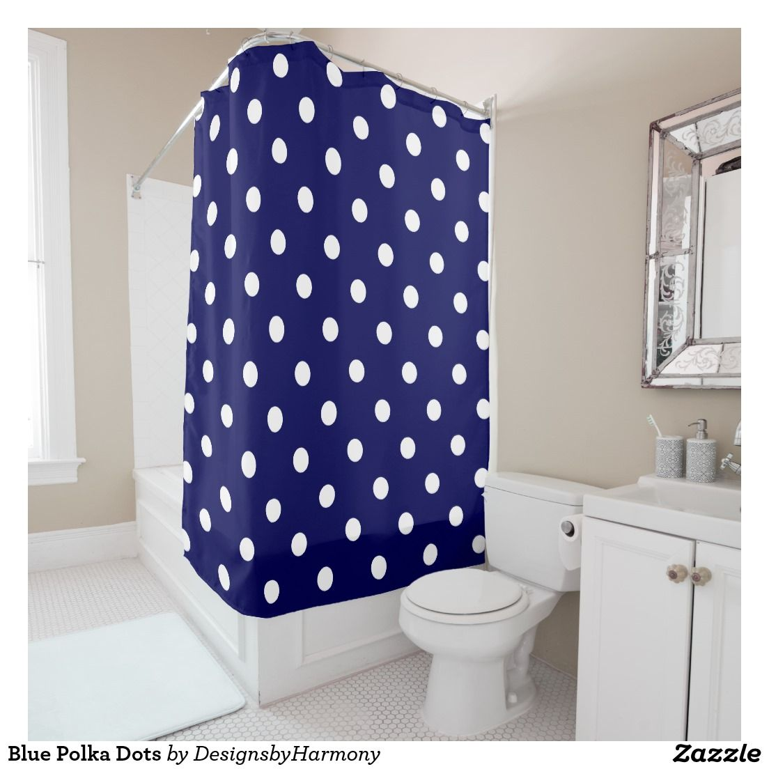 Purple polka dot curtains - Blue Polka Dots Shower Curtain