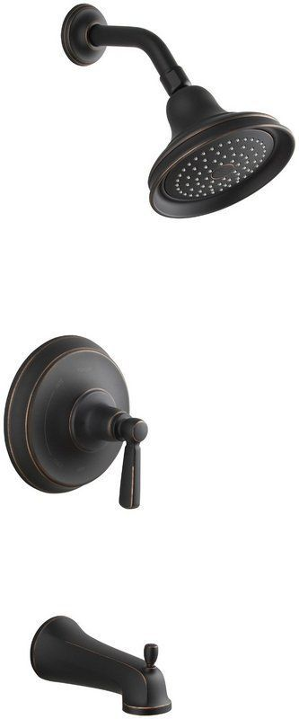 Photo of Kohler K-T10582-4-2BZ Oil-Rubbed Bronze (2BZ) one-hand RiteTemp bathtub and shower panel with rain shower head from the Bancroft series