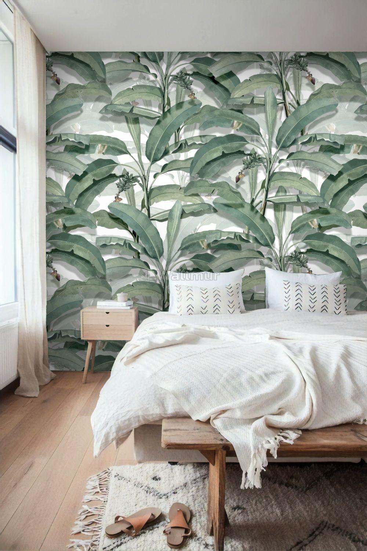 Watercolor Banana Leaf Wallpaper Wallpaper Mural Wallpaper Bedroom Leaf Wallpaper Banana Leaf Wallpaper
