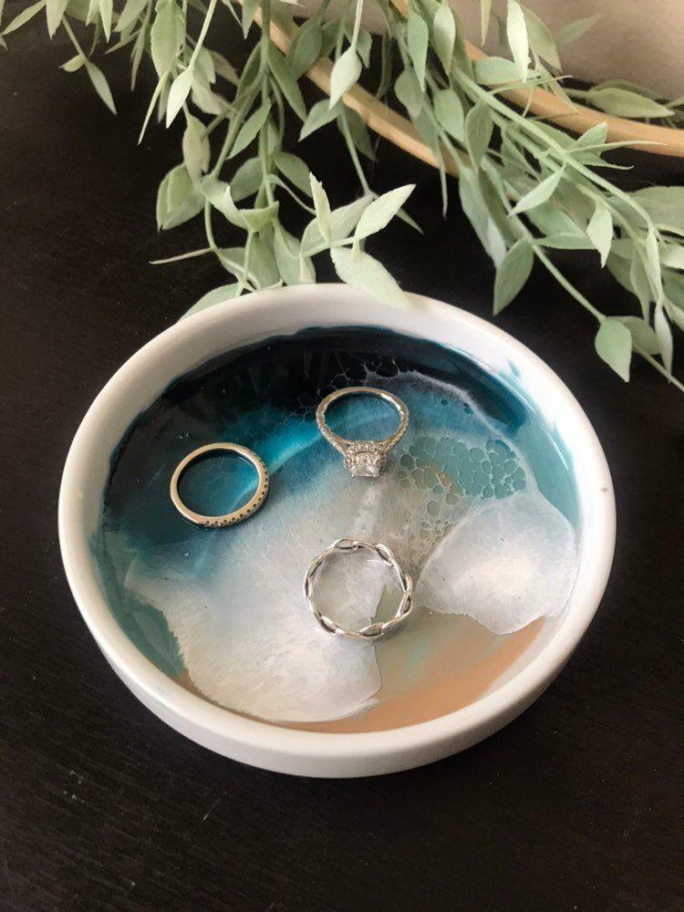 trinket dish Ring bowl jewelry dish Ocean wave decor in resin.