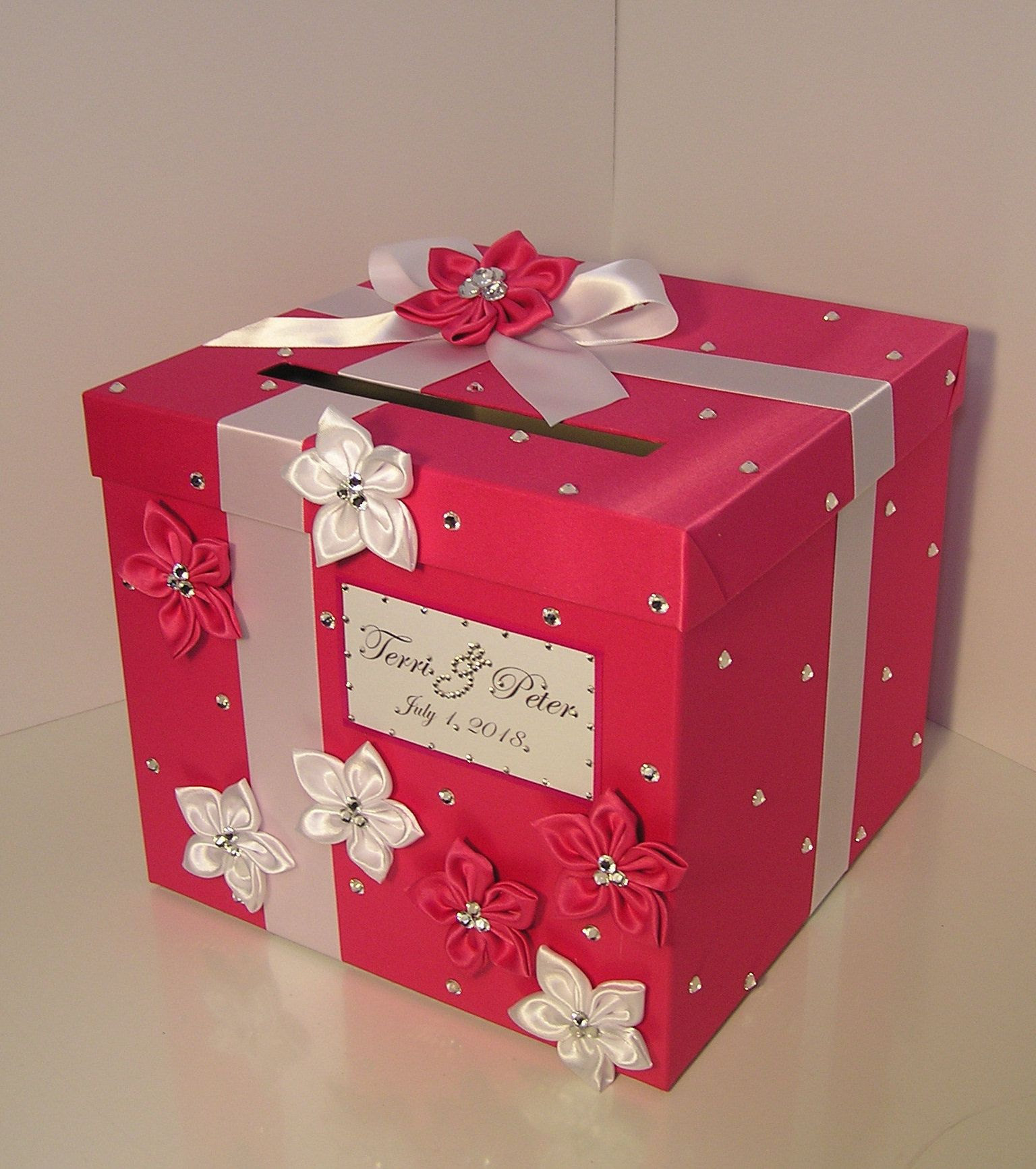 Pin By Bwithustudio On Hot Pink Card Box Gift Card Boxes Card Box Wedding Card Box