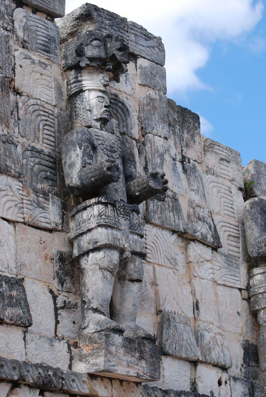 Maya ruins of Kabah, Mexico, showing a carving of the Mayan god Chaac.