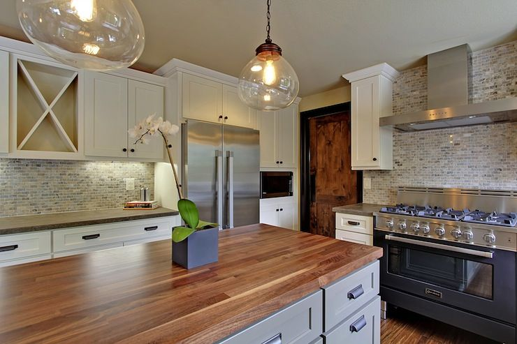 Countertops · Seattle Home Enhancement: Two Tone Kitchen With Shaker  Cabinets Paired With Silver Travertine Marble