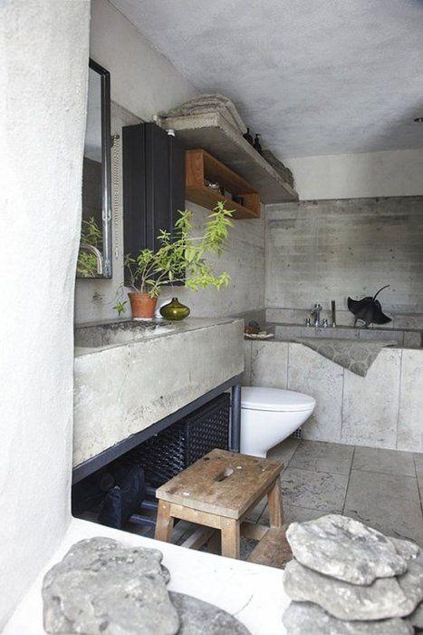 concrete bathroom Interiors Pinterest Stein Badezimmer - küche fliesen ideen