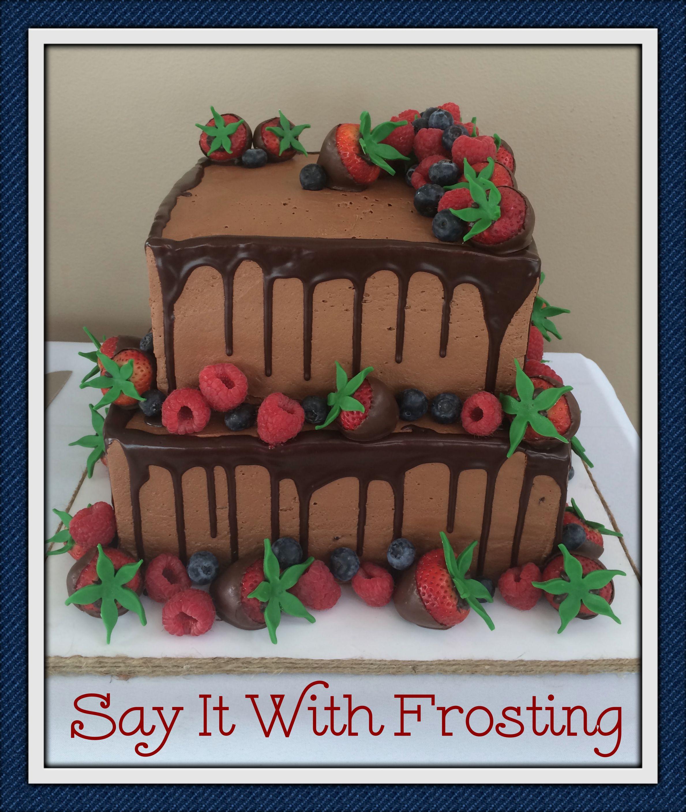 Pensacola Destination Wedding Cakes Chocolate Grooms Cake With Fresh Fruit For An Orange Beach