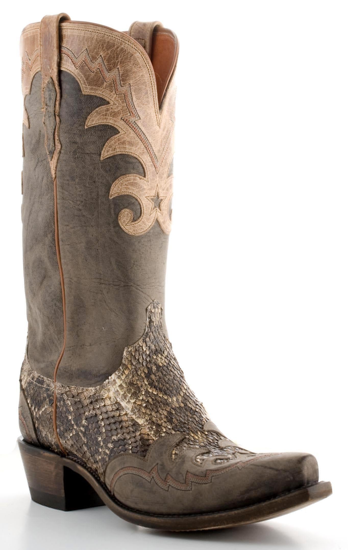 8370da4f906c Mens Lucchese Western Rattlesnake Boots Grey #N9166 | Stylin Son ...