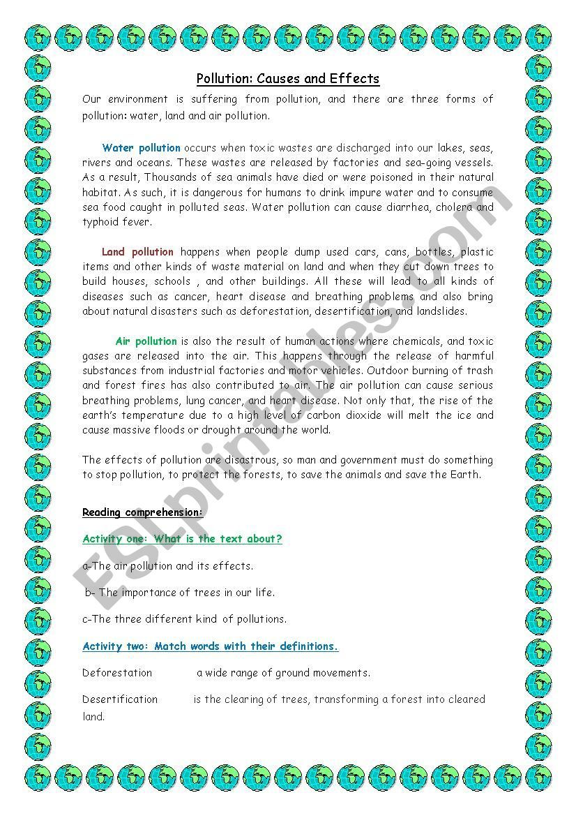 It Contain A Text About Pollution Reading Comprehension And Writing Enjo Worksheet Essay Land