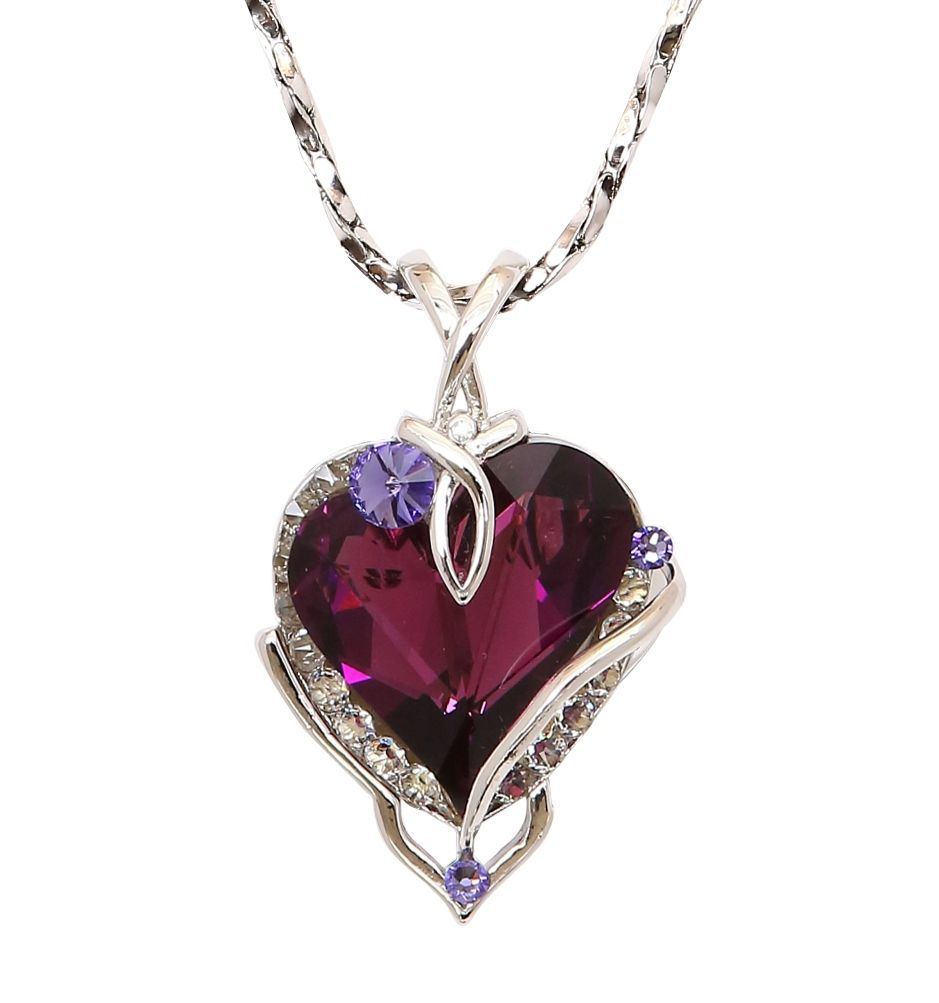 Beautiful Big Amethyst Heart Pendant. William Wang Designs Big Heart  Pendant Necklace with Swarovski Crystal