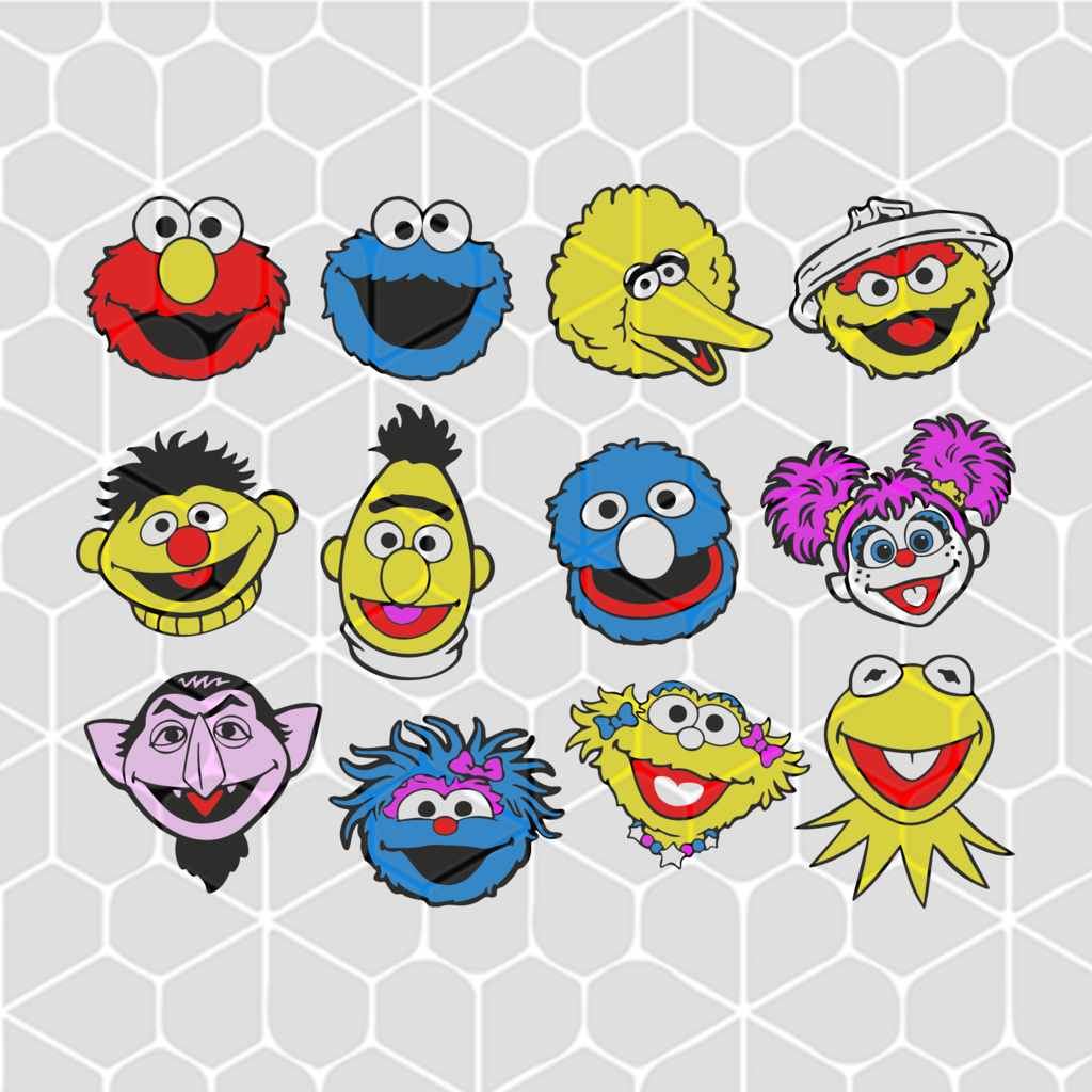 Sesame Street Face Head Bundle Svg Files For Silhouette Files For Cricut Svg Dxf Eps Png Instant Download Sesame Street Svg Cricut