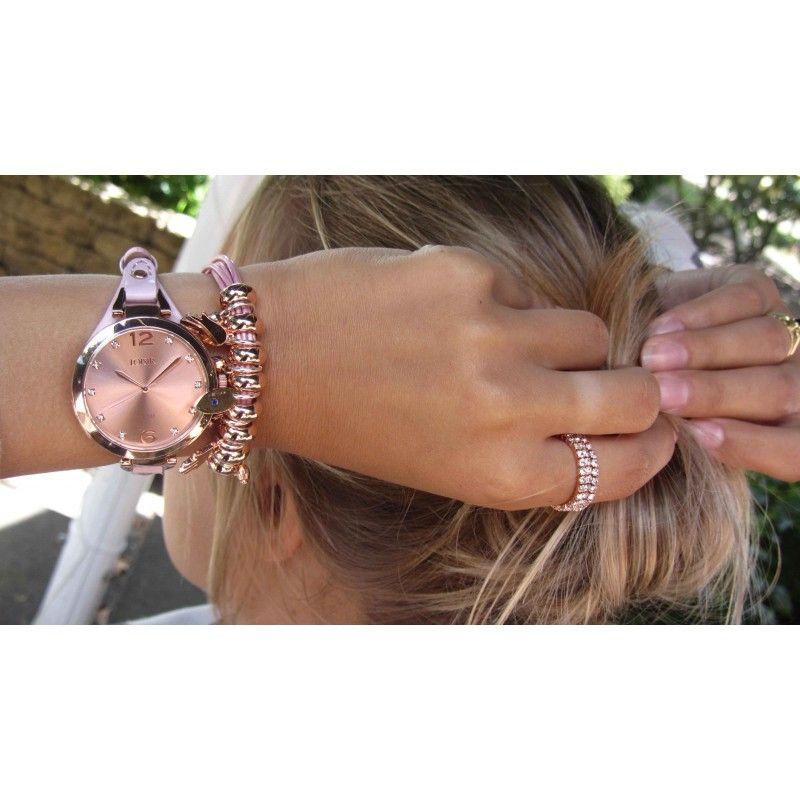 LOISIR klein dun dameshorloge met comfortabel roze leren horlogebandje