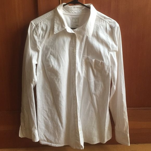 NWT Gap LS white shirt New without tags long sleeve GAP cotton collard shirt. I bought it about 5 months ago, and never wore it. I lost weight so it no longer fits me  It needs a better home. GAP Tops